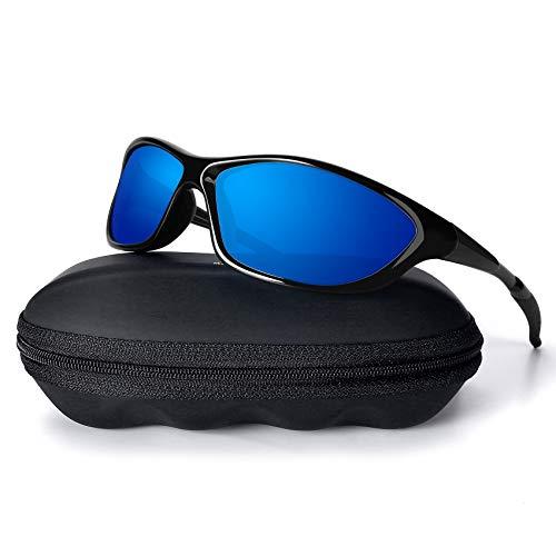 MXNX Polarized Sports Sunglasses for Men Driving Cycling Fishing 100% UV Protection-Black Frame/Mirror Blue Lens