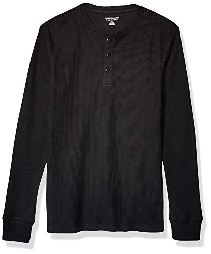 Amazon Essentials Slim-Fit Long-Sleeve Waffle Henley Shirts, Negro, US (EU XS)