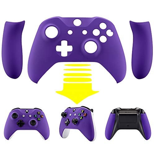 eXtremeRate Soft Touch Purple Faceplate Cover, Front Housing Shell,Soft Grip Back Panels for Xbox One X & One S Controller Model 1708