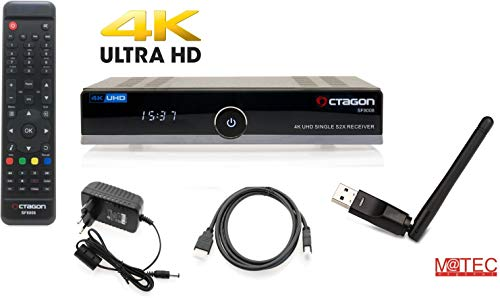 OCTAGON SF8008 4K UHD E2 DVB-S2X Single M@tec WLAN WiFi Open ATV Vorinstalliert, YouTube, Enigma 2, 2160p, TV- und Radiosender, M@tec Digital Hdmi Kabel -schwarz