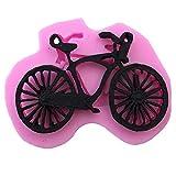 Ruluti Bicicleta De Silicona del Molde del Molde del De Chocolate Fondant Herramienta para Hornear Jabón Moldes Decoración De Pasteles Topper (Rosa)