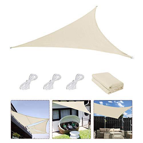 Sonnensegel,Sonnenschutz Sonnendach Windschutz mit UV Schutz wetterbeständig Segel Schatten UV-Schutz sonnensegel Dreieckig für Garten Outdoor Terrasse Balkon Lawn 3×3×3M (J)
