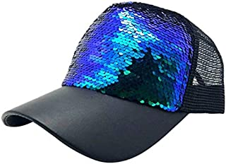 BEESCLOVER New Luxury Paillette Bling Sequin Mesh Girl Summer Hats Adjustable Baseball Caps