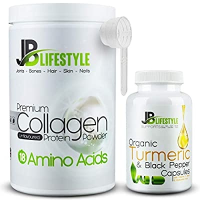 Hydrolysed Bovine Collagen Protein Powder Unflavoured Peptides – with Organic Turmeric Black Pepper Vitamin C Biotin Hyaluronic Acid Supplement Capsules, Hair Skin Teeth Nails Bones Joints Keto Halal