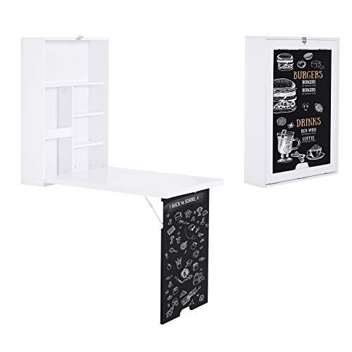 HOMCOM Wandtisch, Wandklapptisch, Klappschreibtisch mit Tafel, Klappbarer Computertisch, Esstisch, MDF, Weiß 60 x 94,5 x 147 cm