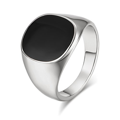 Yoursfs Silver Onyx Ring 18ct White Gold Plated Black Stone Ring for Men Fashion Jewellery