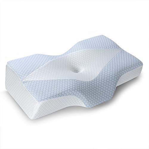 Mkicesky [U.S. Patent] Cooling Pillow for Sleeping, Memory Foam Pillow, Cervical Pillow for Neck Pain, Ergonomic Orthopedic Contour Pillows, Neck Support Bed Pillow for Side, Back, Stomach