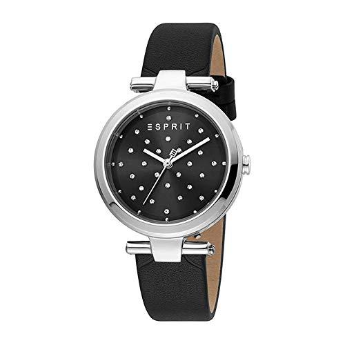 Esprit ES1L167L0025 Fine Dot Uhr Damenuhr Lederarmband 5 bar Analog schwarz