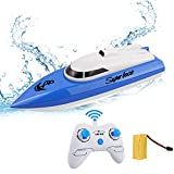 WomToy RC Boat, 2.4GHz High Speed Remote Control Boats for Lake/Pool/Pond, Electric RC Racing Boats for Adults & Kids-Blue