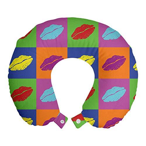 ABAKUHAUS Baiser Oreiller Cervical de Voyage, Vibrant Pop Art Baisers, Accessoire en Mousse à Mémoire pour Voyage, 30 cm x 30 cm, Multicolore