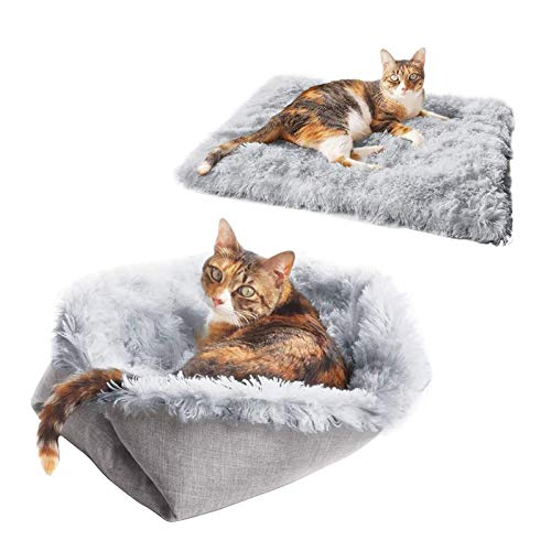 Pet Dog and Cat Bed - Plush Ergonomic Contour Orthopedic Foam Mattress Dog Bed and Round Snuggery Hooded Dog Blanket Bed for Dogs and Cats - Multiple Styles