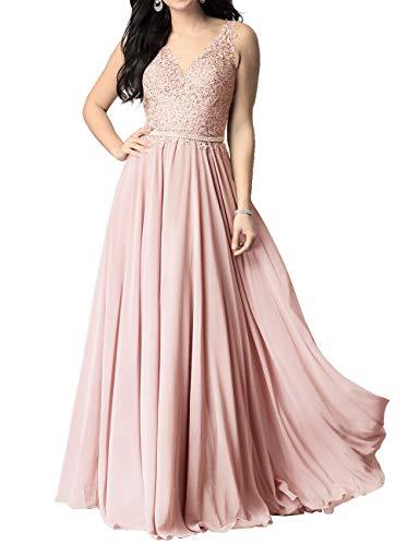 Abendkleid Lang Chiffon Ballkleider Brautkleider A-Linie Partykleid Standesamtkleid Hochzeitkleid Altrosa 52
