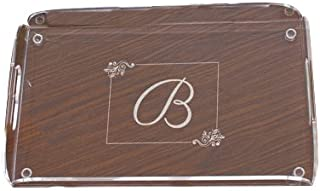"""GiftsForYouNow Monogrammed Serving Tray, 16½"""" x 10"""", Non-Scratch, Acrylic"""