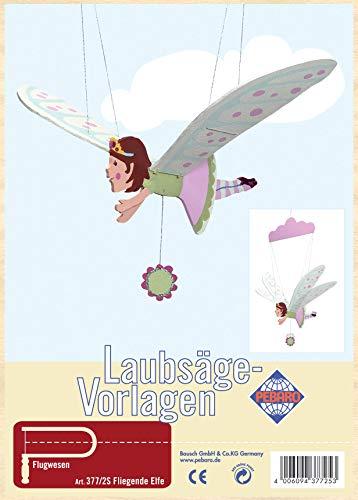 Pebaro Laubsägevorlage aus Sperrholz Motiv Fliegende Elfe, Holz, DIN A4