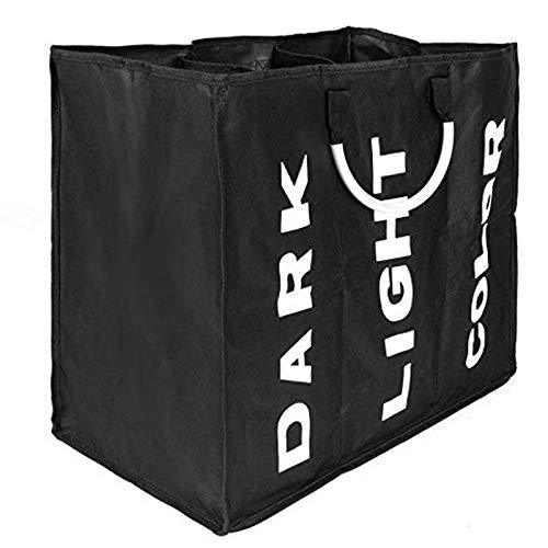 FB FunkyBuys - Sacco portabiancheria pieghevole con maniglie, grande cesto portabiancheria (3 scomparti, nero)