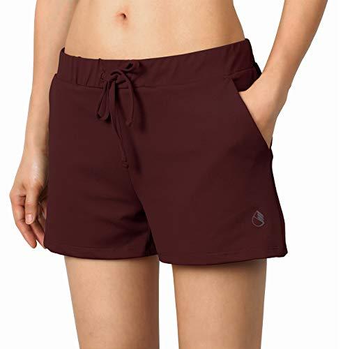 icyzone - Pantalones cortos de deporte para mujer, para yoga, fitness, gimnasio, monocromáticos, Todo el año, Mujer, color granate, tamaño S
