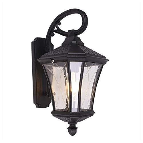 LLLKKK Lámpara de pared retro Victoria E27 de cristal transparente, color negro, superficie de la pared, luz portal, resistente al agua IP65, lámpara de pared para jardín, pasillo, decoración