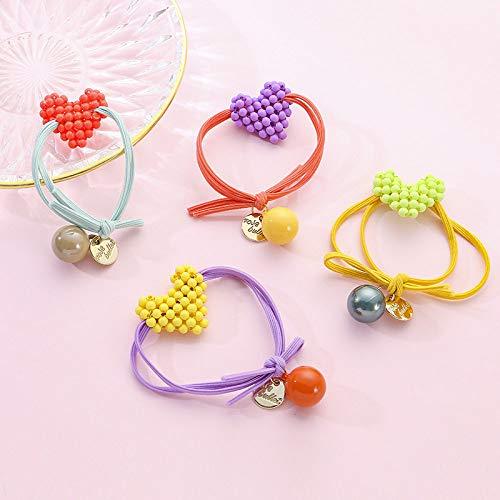 THTHT haarring eenvoudige meisjes elastische haarband meisje schattige kleur hart 4 stuks hoofdtooi vrouwelijk haar met paardenstaart elastiek haarbundel