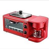 Mini horno de tostadora 9L, máquina de desayuno 3 en-1 Máquina para hornear  Toastie Maker con placas desmontables antiadherentes, asa táctil fresco 800W Freidora de aire (color: negro, Tamaño: Estab