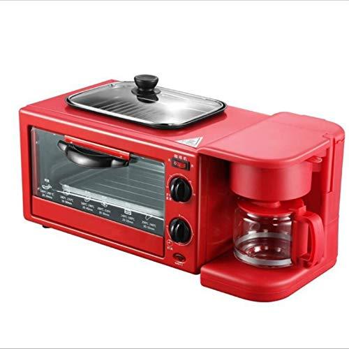 9L Horno eléctrico,Mini tostadora casera pequeña,Multifuncional,Tres en uno, automática, máquina de café para Desayuno, freidora de Aire (Color: Rojo, Tamaño: Juego de Comida 4)
