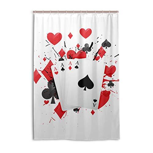 FANTAZIO Duschvorhang Four Aces Poker Card Polyester Badvorhang mit dicken C-förmigen Haken für Badezimmer, wasserdicht, 1 Stück, 122 x 183 cm