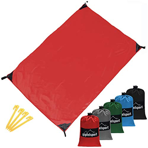 gipfelsport Picknickdecke - Outdoor Picknick Decke I Stranddecke, wasserdicht, waschbar, sandfrei I 200x140 cm groß I rot