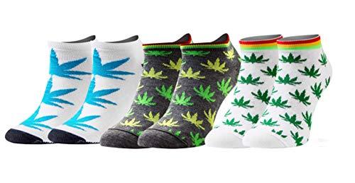 Sesto Senso Lustige Sneaker Socken Baumwolle Bunte Füßlinge Damen Herren 1-3 Paar Funny Socks Marihuana 43-46 3 Blätter