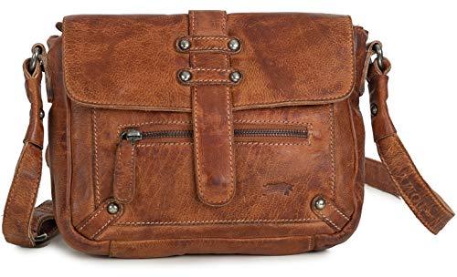 Ven Tomy Umhängetasche Cognac braun | Damen Leder Handtaschen aus Büffelleder | Vintage Tasche Cognac Braun | Umhängetaschen für Frauen
