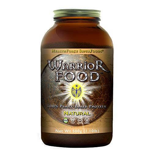 HealthForce Warrior Food Natural - 500g Vegan Protein Powder - Certified Organic Plant-Based Protein - with Minerals and Pea Protein - Sugar Free, Non-GMO, Soy Free, Gluten-Free - 25 Servings