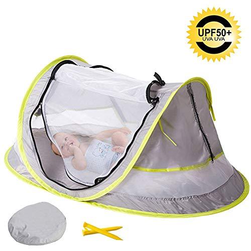 ZZUU Pop Up Kid Tent Draagbare Reistent Bed Met Muggennet, Upf 50+ Uv Bescherming Zonne Tent Met Bid & 2 Pegs Opvouwbare Zonnekap Voor Binnen Buiten