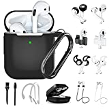 Black Airpods Case,16 in 1 Airpod 1&2 Accessories Set Anti-Lost Straps with Keychain/Apple Watch Band Holder/ Airpod Ear Tips/Ear Hooks/Carry Case for Apple Airpods Silicone Cover for Girls/Women/Men