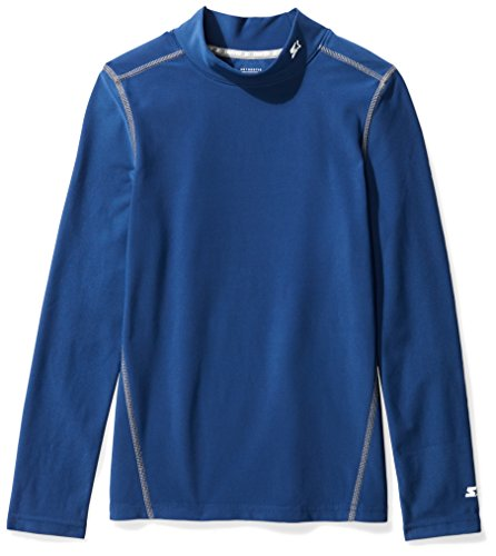 Starter Boys' Long Sleeve Mock Neck Athletic Light-Compression T-Shirt, Amazon Exclusive, Team Navy, L (12/14)