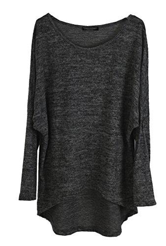 Emma & Giovanni - Pullover/T-Shirt Oversize - Damen (38/40 (Etikett M), Schwarz)