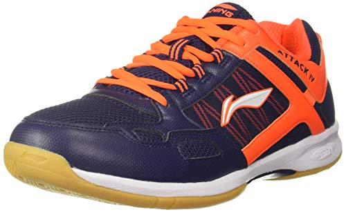 Li-Ning Attack - IV Non-Marking Junior Badminton Shoe, 5 UK (Navy/Orange)