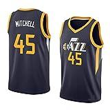 Jazz Mitchell # 45 Maillot de basket-ball, T-shirt d'entraînement classique, vêtement de fête, vêtement de sport, taille 3-S