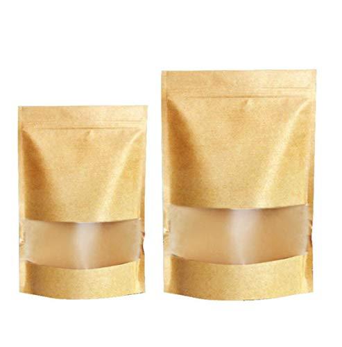 50 Stk Zip Kleine Braune Papier Beutel Mit Sichtfenster, Papier Tütchen kraftpapier mit Boden für die verpackung von kaffee,tee lebensmittel und snack SamenBeutel Geschenktüten (9 * 14 CM)