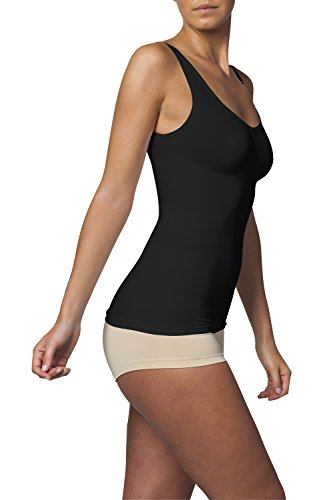 SLEEX Shapewear Figurformendes Damen Unterhemd (mit Support) (44041), Schwarz, Groesse S/M - Shapewear Damen Bauch-Weg
