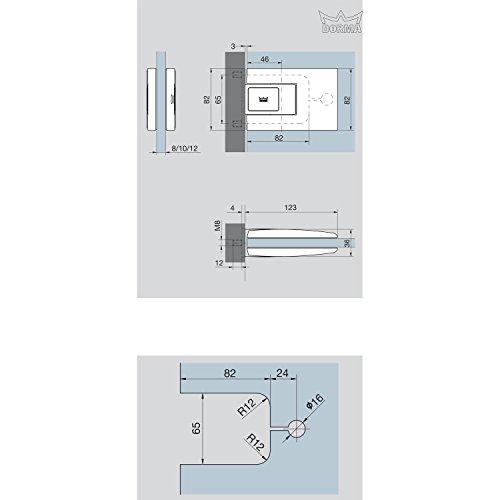 DORMA 81252211499 Pendeltürbeschlag Tensor Glas-Zarge zum Einlassen