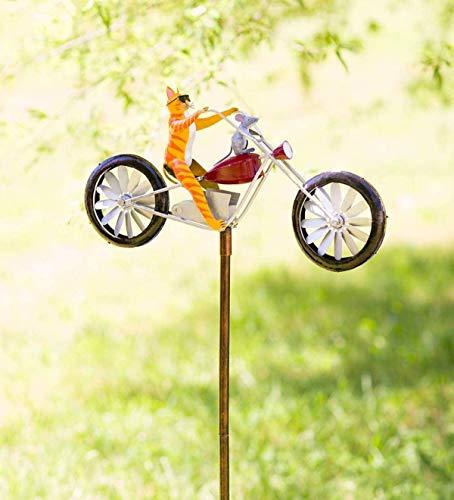HJXX Spinner de Viento de Metal de Bicicleta Vintage, Lindo Animal en Bicicleta Spinner Mental, para Estatua, Escultura, Patio, decoración de césped (Cat)