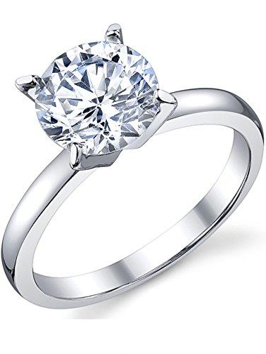 Ultimate Metals anello di fidanzamento in argento con 2 carati pietra di zirconio - fede nuziale in argento con pietra di zirconio a taglio rotondo