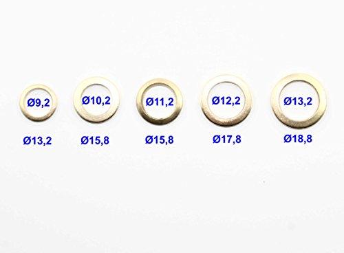 50er Set Fitschenringe je 10x Ø 9,2 / Ø 10,2 / Ø 11,2 / Ø 12,2 / Ø 13,2 mm Unterlegscheiben-Sortiment Stahl vermessingt Türscharnier