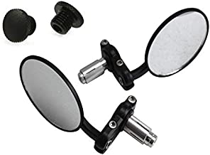 Black Bar End Motorcycle Mirrors & M8 Blanking Plugs for 22mm 7/8