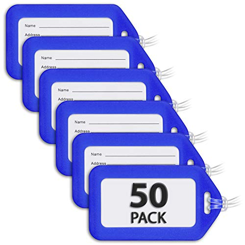 MIFFLIN Luggage Tags (Blue, 50 PK), Bag Tag for Baggage, Suitcase Tags Bulk