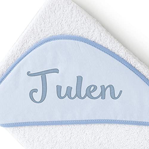 Pekebaby Capa de baño para Bebe (100x100 cm) con Nombre Bordado Personalizado Azul
