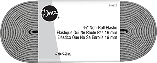Dritz, 3/4', Gray, 6 Yards Non-Roll Sewing Elastic