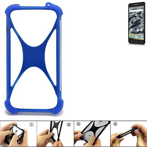 K-S-Trade Handyhülle Für Alcatel Pixi 4 (6 Zoll) 4G 16 GB Silikon Schutz Hülle Cover Case Bumper Silikoncase TPU Softcase Schutzhülle Smartphone Stoßschutz, Blau (1x)