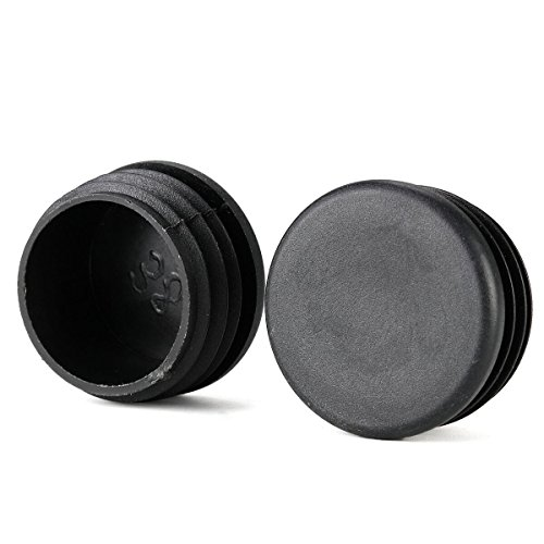 1-1/2 inch Round Cup Patio Furniture Insert Glide End Black Cap for Outdoor Wrought Iron Tables Chairs - 25 Pack
