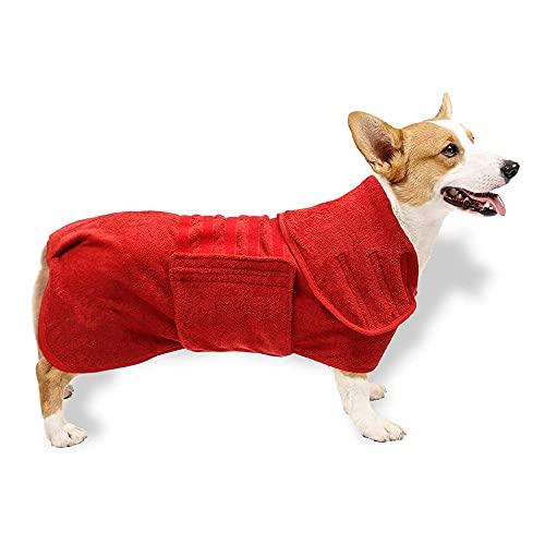pawstrip Abrigo de secado para perros Super Absorbente Pet Puppy Kitten Toalla Microfibra Suave Albornoz para perro pequeño mediano y grande gato (rojo)