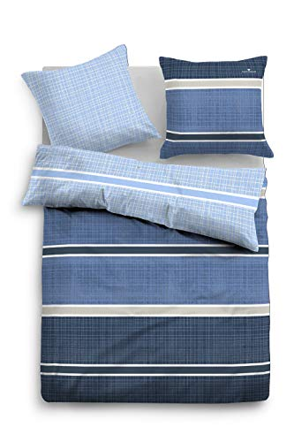 TOM TAILOR 0067603 Bettwäsche Garnitur mit Kopfkissenbezug Baumwoll-Satin Drawn 1x 135x200 cm + 1x 80x80 cm classic blue