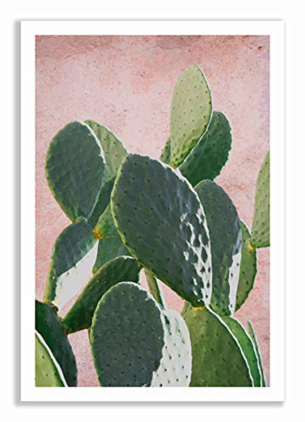 Plant on Pink Barbarian Figurine, White Painted Wood Frame with Mount, Multicolored, 40x60